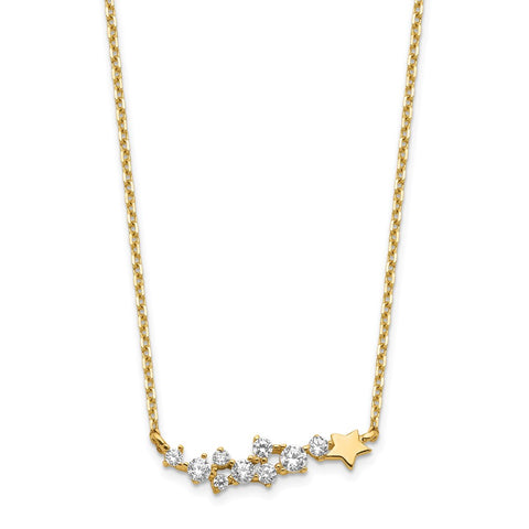 14K Yellow Gold Shooting Star w/ 1in ext. CZ Necklace-WBC-SF2777-15