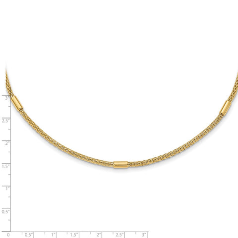 14K Polished Mesh Fancy Link Necklace-WBC-SF2807-18