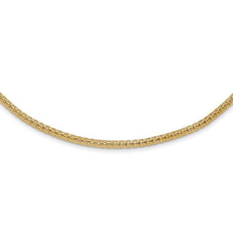 14K Polished Fancy Link Mesh Necklace-WBC-SF2808-18