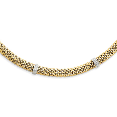 14k Two-Tone 17in .05ct Completed Polished Diamond & Mesh Necklace-WBC-SF607-17