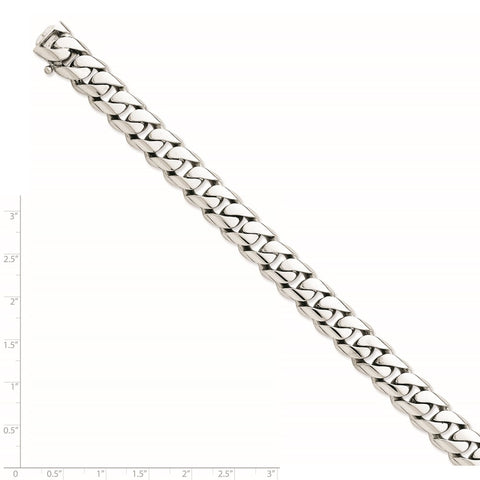 14k White Gold 10.8mm Hand-polished Rounded Curb Link Chain-WBC-WLK127-24