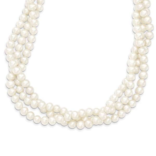 14k 6-7mm White Near Round FW Cultured Pearl 3-Strand Necklace-WBC-XF553-21