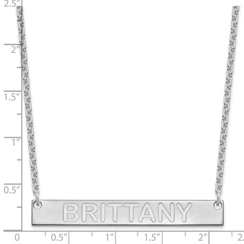 SS/Rhod-pltd Large Polished Capitalized Arial Rounded Bar Necklace-WBC-XNA645SS