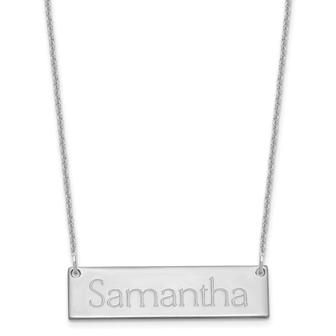 14K White Gold Small Polished Name Bar Necklace-WBC-XNA647W