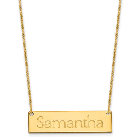 14K Small Polished Name Bar Necklace-WBC-XNA647Y