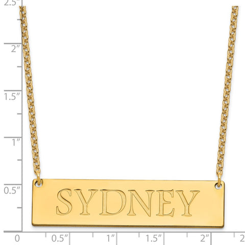Sterling Silver/Gold-plated Large Polished Name Bar Necklace-WBC-XNA648GP