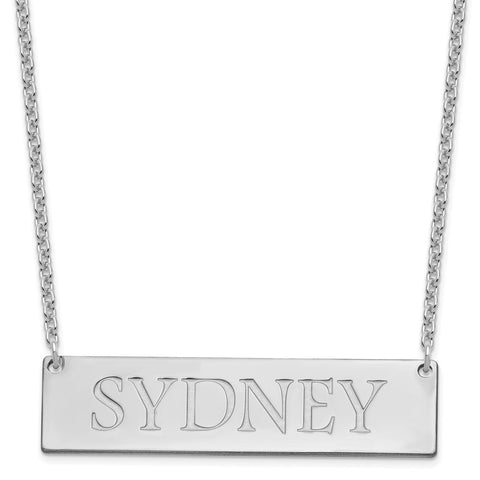 Sterling Silver/Rhodium-plated Large Polished Name Bar Necklace-WBC-XNA648SS