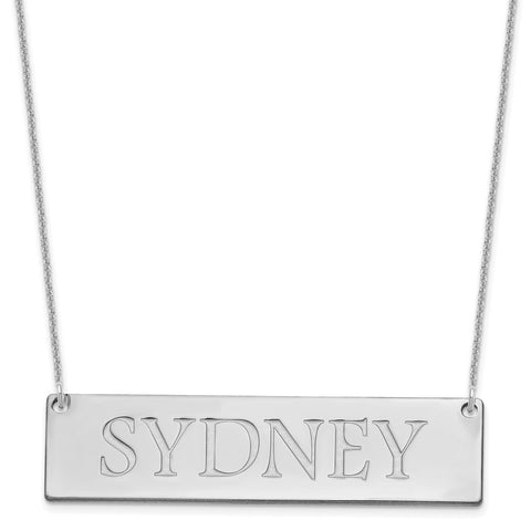 14K White Gold Large Polished Name Bar Necklace-WBC-XNA648W
