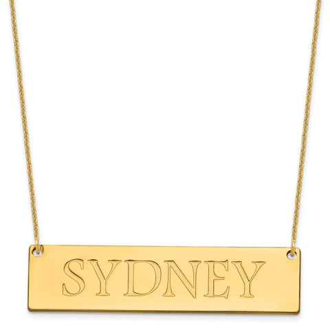 14K Large Polished Name Bar Necklace-WBC-XNA648Y