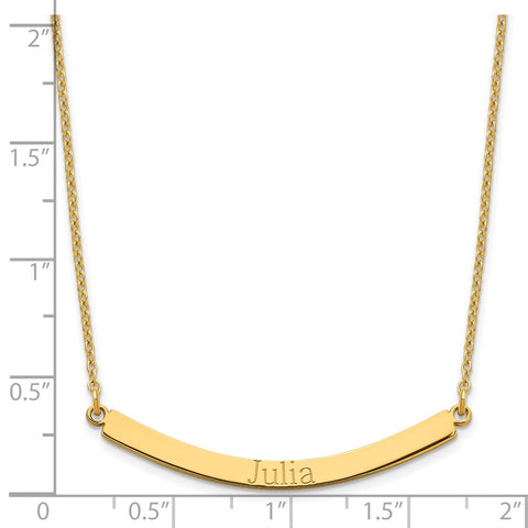 Sterling Silver/Gold-plated Recessed Letter Curved Bar Necklace-WBC-XNA649GP