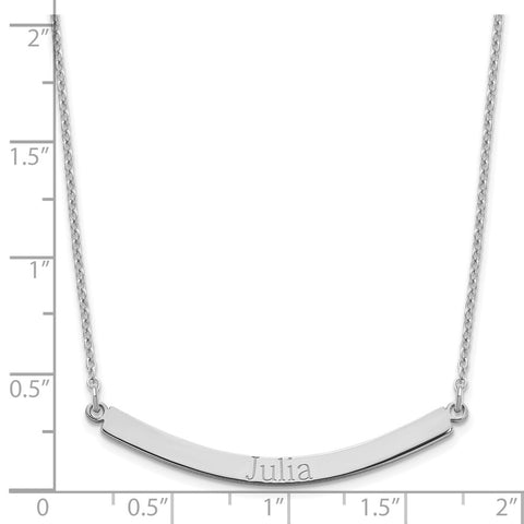 Sterling Silver/Rhodium-plated Recessed Letter Curved Bar Necklace-WBC-XNA649SS
