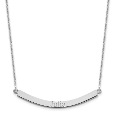14K White Gold Recessed Letters Curved Bar Necklace-WBC-XNA649W