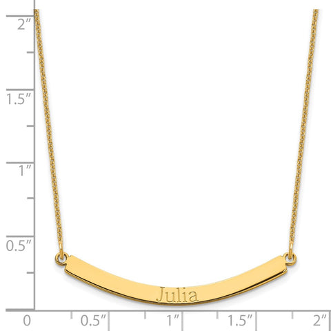 14K Recessed Letters Curved Name Bar Necklace-WBC-XNA649Y