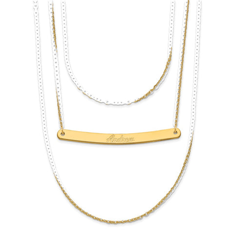 14K Brushed 3 Chain with 1 Bar Necklace-WBC-XNA651Y