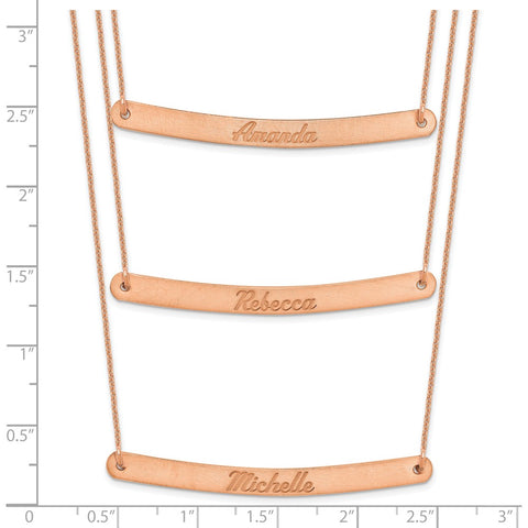 14K Rose Gold Brushed 3 Chain 3 Bar Necklace-WBC-XNA653R