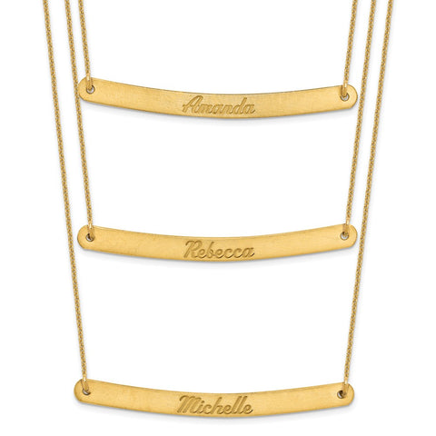 14K Brushed 3 Chain 3 Bar Necklace-WBC-XNA653Y