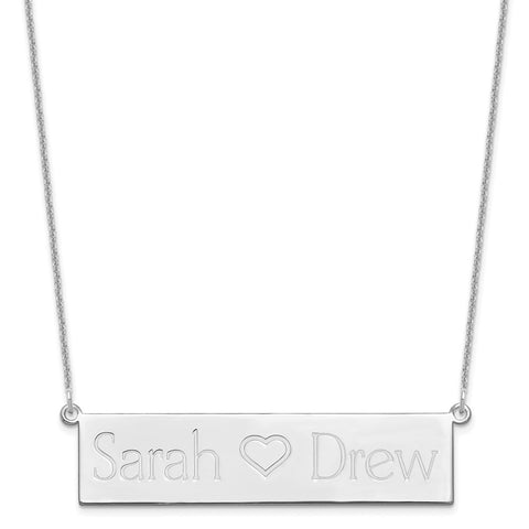 14KW Brushed 2 Names with Heart Bar Necklace-WBC-XNA657W