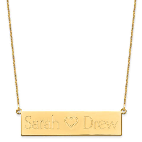 14KY Brushed 2 Names with Heart Bar Necklace-WBC-XNA657Y