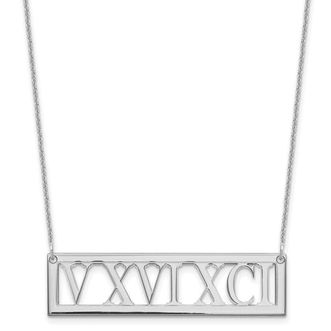 14KW Roman Numeral Bar Necklace-WBC-XNA729W