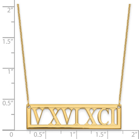 14KY Roman Numeral Bar Necklace-WBC-XNA729Y