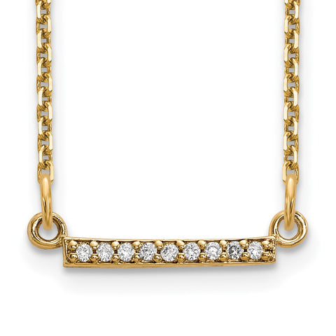 14ky Diamond Tiny Bar Necklace-WBC-XP5030VS