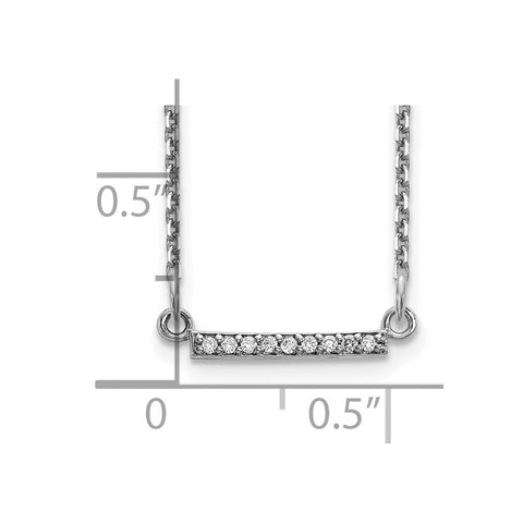 14k White Gold Diamond Tiny Bar Necklace-WBC-XP5030WAA