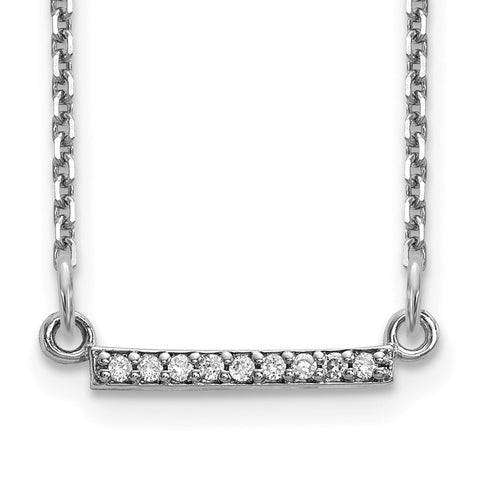 14k White Gold Diamond Tiny Bar Necklace-WBC-XP5030WAAA