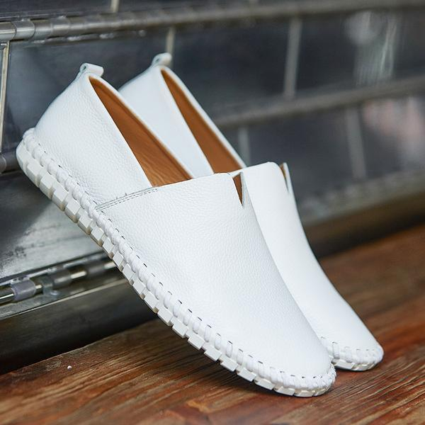 Luxury Plus Size Handmade Leather Mens Slip On Loafer
