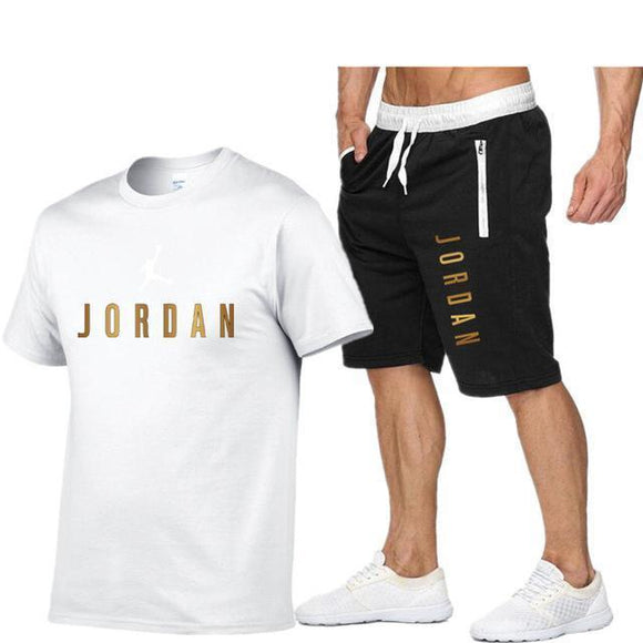 2021 New Cotton Men's T-shirt + Sports Shorts
