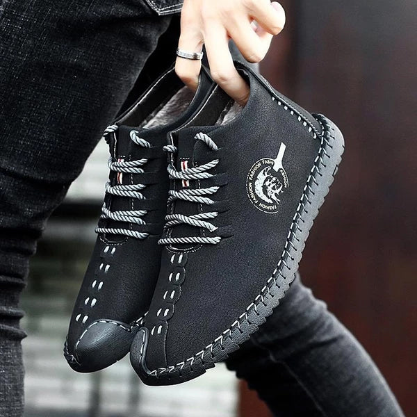Shoes - Fashion Men's High Quality Leather Plush Lining Casual Boots