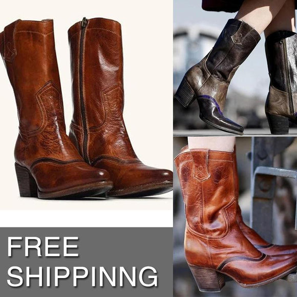 Women's Shoes - Fashion Fall/Winter Slip On Leather Boots