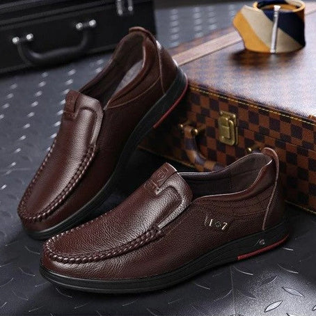 Casual Men Solid Slip On Genuine Leather Shoes