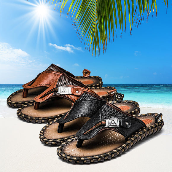 Yokest Summer Plus Size Hand-made Genuine Leather Men Slippers Beach Shoes(Buy 2 Get 10% off, 3 Get 15% off )