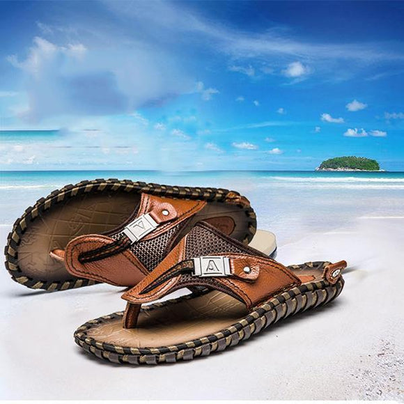 Fashion Men Summer Plus Size Hand-made Genuine Leather Slippers Beach Sandals