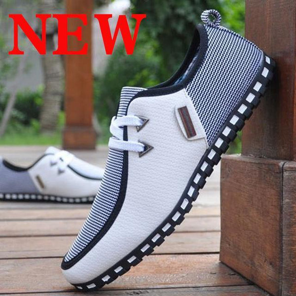 2020 Spring Summer Men's Striped Lace Up Comfortable Lightweight Leather Shoes