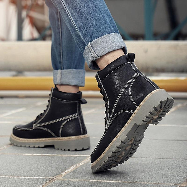 Winter Men Leather Casual Military High Top Boots