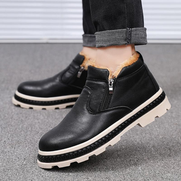 Fashion Warm Plush Zipper Leather Comfort Basic Boots