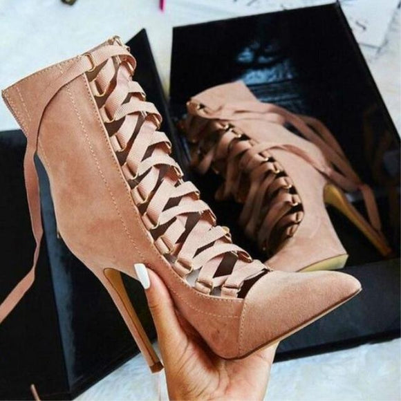 2019 New Fashion Spring Suede Ankle Cross Strap Gladiator Boots