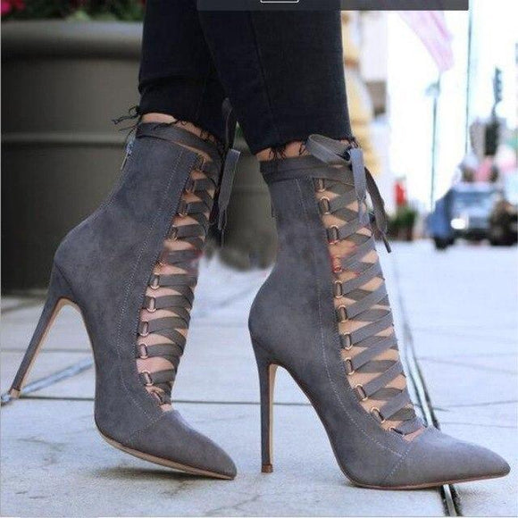 2019 New Spring Suede Ankle Cross Strap Gladiator Boots