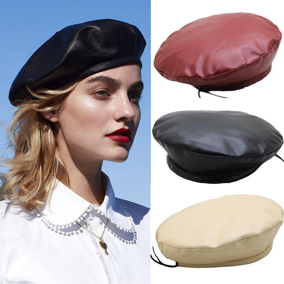 2019 New Retro Beret Cap For Women Casual Faux PU Leather Hat