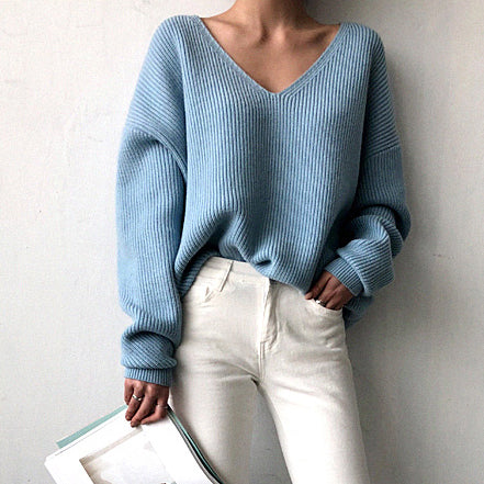 2019 Winter Oversized Women V Neck Knitted Sweater Irregular Hem Tops