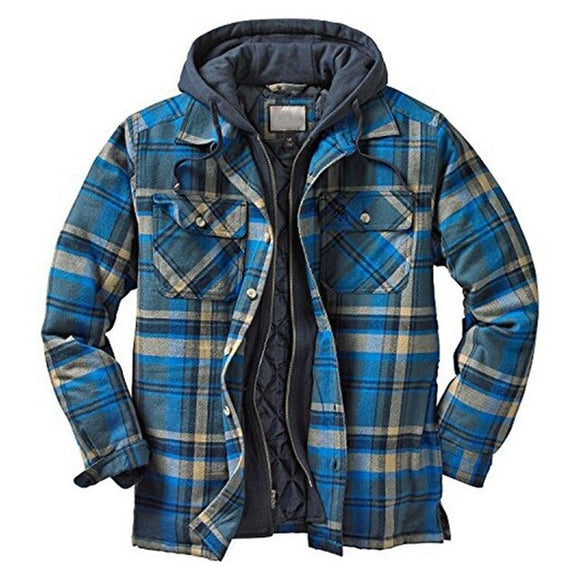 Fashion Plaid Men's Hooded Thick Warm Outerwear Coat