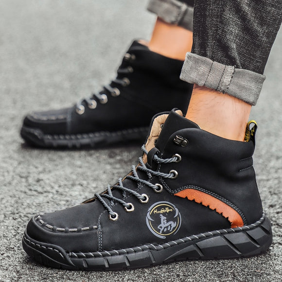 Men's Casual Leather Working Ankle Boots