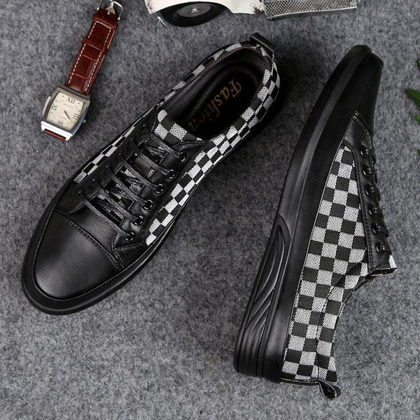 Men's Shoes - 2019 Men Fashion Hot Sale Business Casual Grid Genuine Leather Shoes