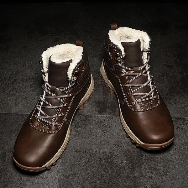 Men's Shoes - Men's New Fashion Leather Winter Warm Snow Boots Shoes