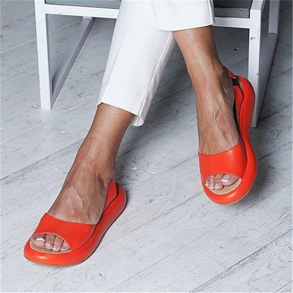 Rome Fish Mouth Casual Gladiator Hollow Flat Heels Open Toes Women Sandals