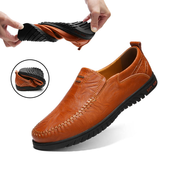 2020 Men Genuine Leather Slip On Casual Shoes