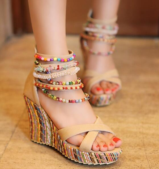 Summer Ladies Beads Ankle Strap Platform Sandals