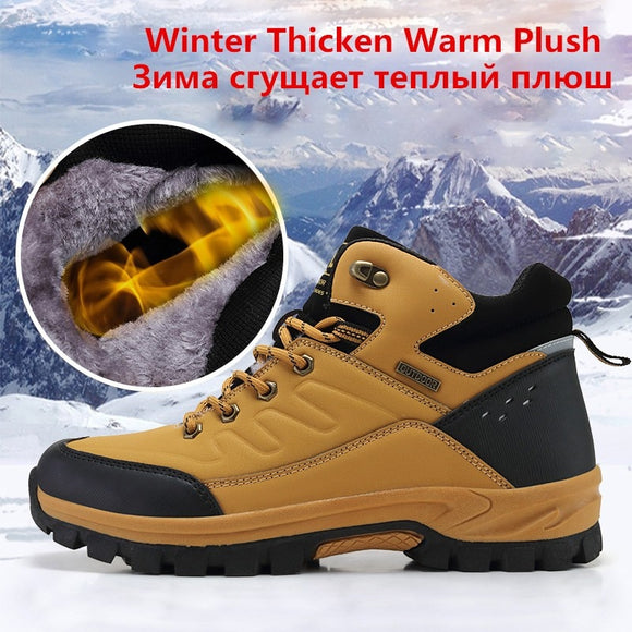 Men Warm Snow Boots Leather Waterproof Shoes