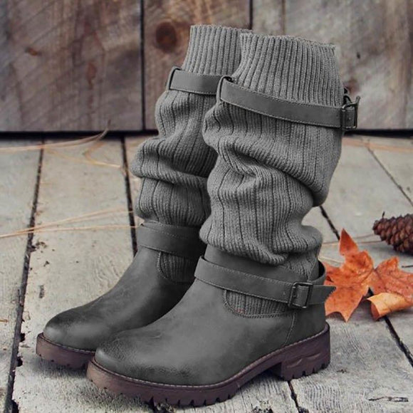 Hot Solid Color Warm Wool Knit Boots